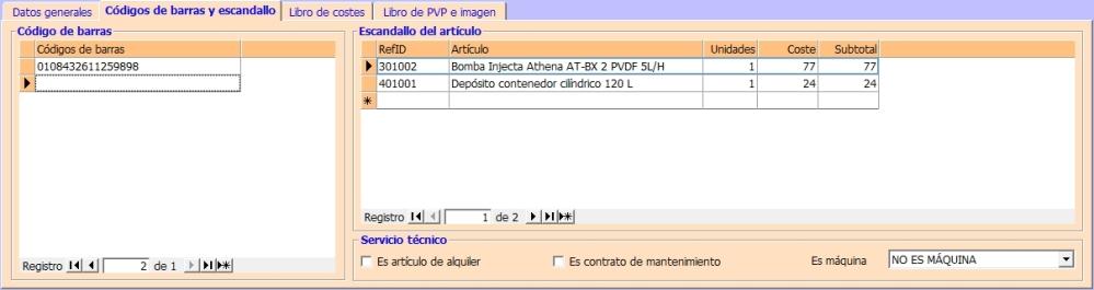 Catalogo - Códigos de barras y escandallo